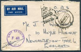 1945 GB India O.A.S. Fieldpost Censor Cover - Newcastle, England. Indian Red Cross, St Johns Ambulance Vignette - 1902-1951 (Kings)