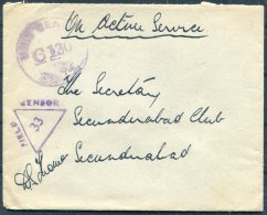 WW2 GB India O.A.S. Fieldpost Censor Cover - Secunderabad Club - 1902-1951 (Kings)