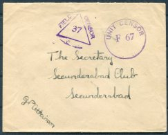 1944 GB India Fieldpost FPO 111 Censor Cover - Secunderabad Club - 1902-1951 (Kings)