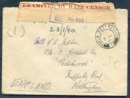 1940 GB Fieldpost FPO 7 Censor B.E.F. Cover - Nottingham - 1902-1951 (Kings)