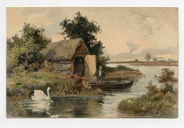 Joli Paysage Homme En Barque Et Cygne . Beautiful Landscape . Man In Boat - Peintures & Tableaux