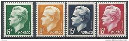 "Monaco YT 365 à 368 "" Prince Rainier III "" 1951 Neuf** - Unused Stamps"