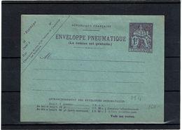 CTN27 - ENVELOPPE PNEUMATIQUE CHAPLAIN 1f VIOLET STORCH N° M4 - Postal Stamped Stationery