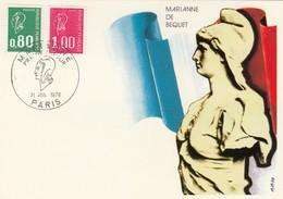 FRANCE - CARTE MAXIMUM MARIANNE DE BEQUET 0.80 1.00- CACHET ROND 1er JOUR 31.7.1976 PARIS / 3 - 1970-79