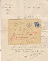 Mirecourt , Vosges ,boite Urbaine D De La Ferme De Beaufroy Sur Enveloppe De 1889 + Courrier à Entête - Marcophilie (Lettres)