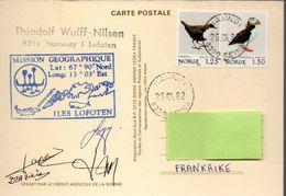 Mission Géographique Aux Iles Lofoten 25-04-1982 Signatures Des Membres De L'expédition. Carte Dessin De P.E.Victor - Expéditions Arctiques