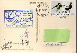 Mission Géographique Aux Iles Lofoten 21-04-1982 Signatures Des Membres De L'expédition. Carte Dessin De P.E.Victor - Expéditions Arctiques