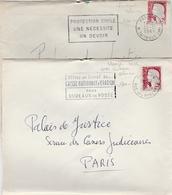 Marianne De Decaris YT 1263 - 2 Lettres Visages Rose Et Blanc Avec Cheveux Blancs - Paris XX Et 22 1961 1962 - Curiosidades: 1960-69 Cartas