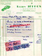 37- TOURS- RARE FACTURE LUCIEN JEPHOS-PEINTURE PEINTRE AUTOMOBILE-AUTOS-38 RUE SAN FRANCISCO-1951 - Electricity & Gas
