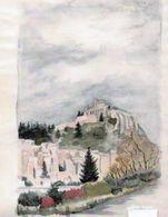 82X   04 Sisteron Aquarelle Ville Vue De L'autre Coté De La Durance - Watercolours