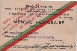 Sport/RING De Pantin/Boxe Et Culture Physique/Carte De Membre Honoraire/Lagasse / PANTIN/Vers 1935     AEC112 - Boxing