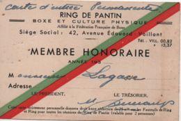 Sport/RING De Pantin/Boxe Et Culture Physique/Carte De Membre Honoraire/Lagasse / PANTIN/Vers 1935     AEC113 - Boxe
