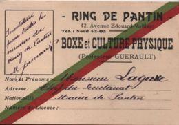 Sport/RING De Pantin/Boxe Et Culture Physique/Invitation Permanente/Lagasse/Professeur Guerault/PANTIN/Vers 1935  AEC114 - Pugilato