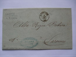 ITALY - 1862 Stampless Entire - Lainate To Saronno With Additional Municipio Lajnate Cachet - Italy
