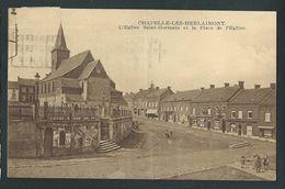 Chapelle - Lez - Herlaimont. L'Eglise Saint-Germain Et La Place. Animée. Voir état. - Chapelle-lez-Herlaimont
