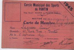 Sport/Cercle Municipal Des Sports De PANTIN/Section ESCRIME/Carte De Membre Commissaire/1945  AEC119 - Fencing
