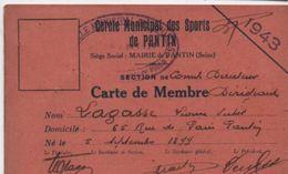 Sport/Cercle Municipal Des Sports De PANTIN/Comité Directeur/Carte De Membre Dirigeant /1943  AEC120 - Other