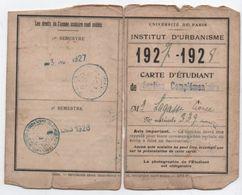 Université/Université De Paris /Institut D'Urbanisme/Carte D'Etudiant/Section Complémentaire/Lagasse /1927-1928  AEC118 - Altre Collezioni