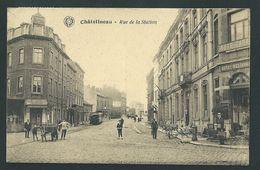 Châtelineau. Rue De La Station. Tram, Tramway, Attelage Chien, Hôtel, Animation. Voir Oblitèration. 2 Scans - Châtelet