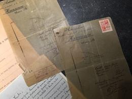 18C - Ensemble De Documents Notariés Relatifs à La Vente De Terrains à Hanzinne Avec Plans Et Timbres Taxes Fiscales - Oude Documenten