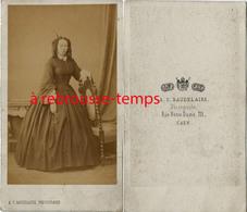 CDV Mode Second Empire-femme-photo Baudelaire à Caen - Old (before 1900)