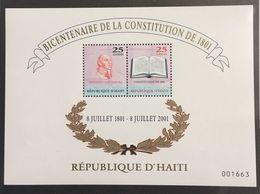 HAITI 2001 - MNH Scott 933 - Y&T BF N°60 - 1801 CONSTITUTION - SOUVENIR SHEET - RARE ! - Haïti