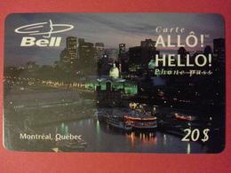 Bell Allô Hello Phone Pass Canada Prepaid Montréal Québec - Télécartes