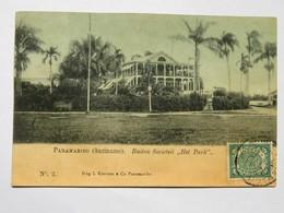 """C.P.A. SURINAM : PARAMARIBO : Buiten Societet """" Het Park"""", Stamp - Surinam"""