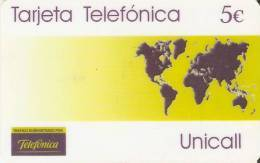 TARJETA DE ESPAÑA DE TELEFONICA DE MAPAMUNDI UNICALL - Espagne