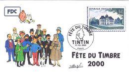 FRANCE 3303 FDC Premier Jour 26 Fête Du Timbre 2000 Paris TINTIN HERGE KUIFJE BEDE COMICS STRIP Moulinsart Retouché - Comics