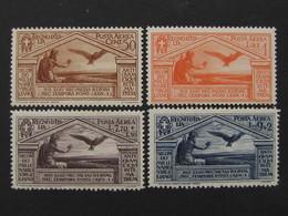 """ITALIA Regno Aerea -1930- """"Virgilio"""" Cpl. 4 Val. MH* (descrizione) - 1900-44 Vittorio Emanuele III"""