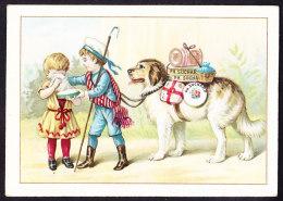 CHROMO Chocolat SUCHARD   +/- 1892  Serie 28  Scènes De Genre  Enfants Chien  Bernhardiner  Trade Card  Saint Bernard - Suchard