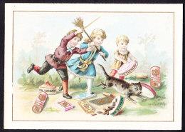 CHROMO Chocolat SUCHARD   +/- 1892  Serie 28  Scènes De Genre      Enfants Chat     Trade Card  Cat - Suchard