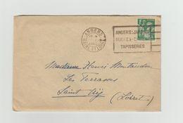 """LAC 1940 - Cachet ANGERS (Maine Et Loire) + Flamme """"Angers: Jardins Musées Chateau Tapisseries""""+ YT 432 Seul Sur Lettre - Marcophilie (Lettres)"""