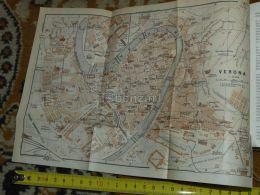 Verona Italy Map Karte Mappa 1930 - Carte Geographique