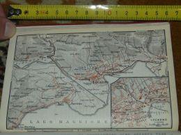 Lago Maggiore Locarno Ascona Gordola Muralto Minusio Brione Losone Verseio Cavigliano Italy Map Karte Mappa 1930 - Carte Geographique