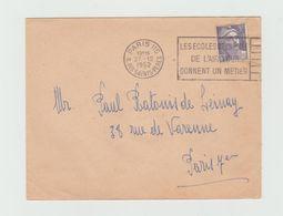 """LSC 1952 - Cachet Paris 115  + Flamme """"les écloes De L'armée De L'air Vous Donnent Un Métier""""+ YT 883 - Marcophilie (Lettres)"""