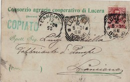 6365 FOGGIA LUCERA CONSORZIO AGRARIO X LANCIANO - Marcophilie