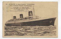 (RECTO / VERSO) PAQUEBOT NORMANDIE EN 1937 - N° 641 - LE HAVRE - BELLE FLAMME - LEGER PLI -  CPA VOYAGEE - 76 - Paquebots