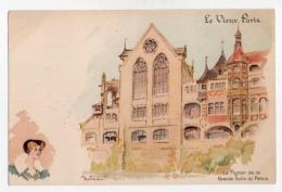 Illustrateurs Robida Albert Robida 010, Le Vieux Paris, Dos Non Divisé, Le Pignon De La Grande Salle Du Palais - Robida