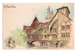 Illustrateurs Robida Albert Robida 019, Le Vieux Paris, Dos Non Divisé, Rue Des Remparts - Robida