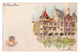 Illustrateurs Robida Albert Robida 021, Le Vieux Paris, Dos Non Divisé, Tour Du Louvre & Maison Aux Piliers - Robida