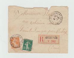 LSC 1914 - Recommandé Et Cachet MORTAGNE Sur HUINE (Orne)  Sur Semeuse 5 Et 30c - Marcophilie (Lettres)