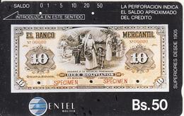 BOLIVIA(Tamura) - 10 Bolivianos Specimen Banknote, Entel Telecard Bs.50, Used - Bolivia