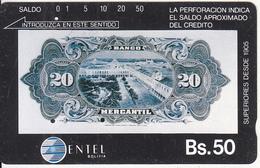 BOLIVIA(Tamura) - 20 Bolivianos Banknote, Entel Telecard Bs.50, Used - Bolivia