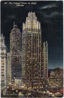 The Tribune Tower By Night Chicago - Etats-Unis