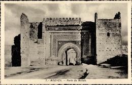 Cp Meknès Marokko, Porte Du Mellah, Partie Am Stadttor - Autres