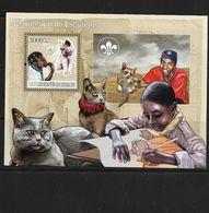 O) 2007 GUINEA BISSAU, SCOUTS CENTENARY- CAT, SYMBOL FLOWER OF LIS, SOUVENIR MNH - Guinea-Bissau