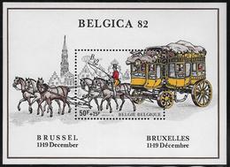 Belgium SG MS2743 1982 Belgica 82 Postal History Exhibition Miniature Sheet Unmounted Mint [36/30413/6D] - Blocks & Sheetlets 1962-....