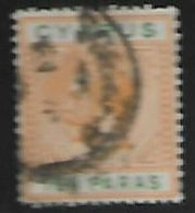 Cyprus, Queen Victoria, 10 Paras Orange-yellow & Bright Green, Used - Cyprus (...-1960)